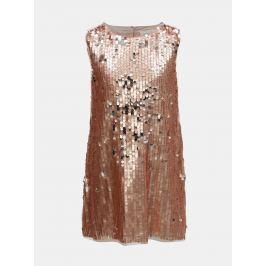 Dievčenské šaty s flitrami v ružovozlatej farbe Name it