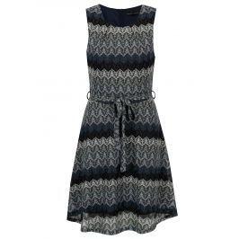 ce1d62ea74a0 Detail · Tmavomodré vzorované šaty so zaväzovaním Mela London