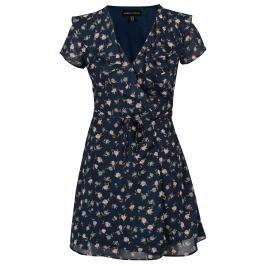 Detail · Tmavomodré kvetované zavinovacie šaty Mela London 62d4c9236b