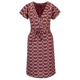 Detail · Vínové vzorované šaty s prekladaným výstrihom Tranquillo Catalpa 93fee9c6317