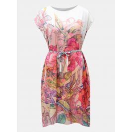 329596c8f9 Detail · Bielo-ružové voľné šaty s opaskom na zaväzovanie Mayda Kouzelný les