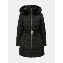 Čierny zimný prešívaný kabát s odnímateľným opaskom a umelou kožušinou  Dorothy Perkins fbe24ec58f2