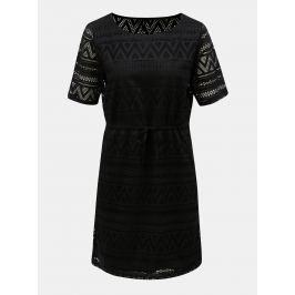 e06ee7726d23 Detail · Čierne čipkované šaty so sťahovaním v páse ONLY