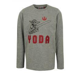 Tmavosivé chlapčenské tričko s potlačou a výšivkou Star Wars Lego Wear Teo