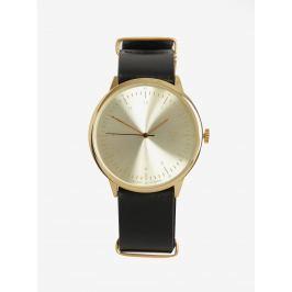 Unisex hodinky v zlatej farbe s čiernym koženým remienkom CHPO Harold