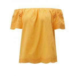468948588d0c Detail · Oranžová blúzka s odhalenými ramenami a madeirou Dorothy Perkins
