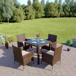 Záhradný nábytok Morton 1+4 (hnedá + krémová)