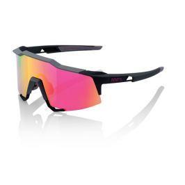 Okuliare 100% Speedcraft Tall Soft Tact Graphite w/ Purple Multilayer Mirror Čierno-ružová
