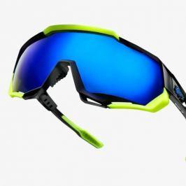 Okuliare 100% Speedtrap Polished Black/ Matte Neon Yello w/ Electric Blue Mirror Čierna