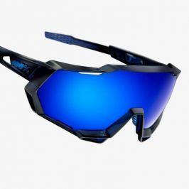 Okuliare 100% Speedtrap Polished Translucent Blu/ Electric Blue Mirror Čierno-modrá