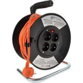 Solight predlžovací prívod na bubne, 4 zásuvky, oranžový kábel, čierny bubon, 25m PB03