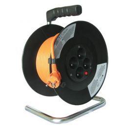 Solight predlžovací prívod na bubne, 4 zásuvky, oranžový kábel, čierny bubon, 50m PB04
