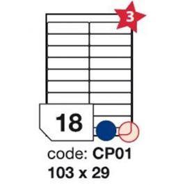 Etikety RAYFILM 103x29 univerzálne biele R0100CP01F (1.000 list./A4) R0100.CP01F