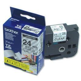 Páska BROTHER TZ-151, priesvitná / čierna - 1 ks (24mm, lamin.) TZ151