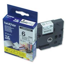 Páska BROTHER TZ-211, biela / čierna - 1 ks (6mm, laminovaná) TZ211