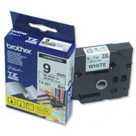 Páska BROTHER TZ-221, biela / čierna (9mm, laminovaná) TZ221