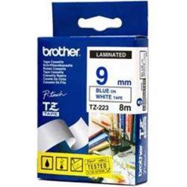 Páska BROTHER TZ-223, biela / modrá - 1 ks (9mm, laminovaná) TZ223