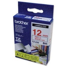 Páska BROTHER TZ-232, biela / červená - 1 ks (12mm, laminovaná) TZ232
