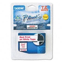 Páska BROTHER TZ-242, biela / červená (18mm, laminovaná) TZ242