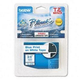 Páska BROTHER TZ-243, biela / modrá (18mm, laminovaná) TZ243