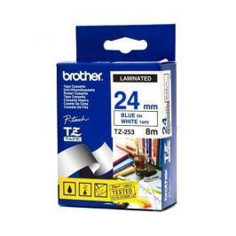 Páska BROTHER TZ-253, biela / modrá (24mm, laminovaná) TZ253