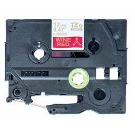 páska BROTHER TZeRW34 zlaté písmo, vínovo-červená stužková páska Tape (12mm)