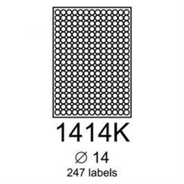 etikety RAYFILM 14mm kruh univerzálne červené R01221414KA (100 list./A4) R0122.1414KA