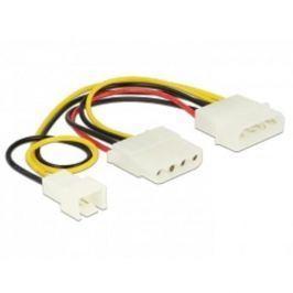 Delock Power Cable 4 pin male > 1 x 4 pin female + 1 x 3 pin male (fan) 14 cm 83658
