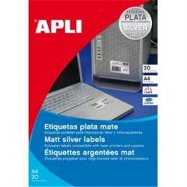 Etikety polyesterové 63,5x29,6mm APLI A4 20 hárkov strieborné AG010070