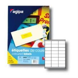 Etikety farebné 70x35mm Agipa A4 100 hárkov fluo žlté AG100764