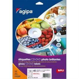 Etikety univerzálne na CD/DVD priemer 114mm Agipa 100 hárkov AG101141