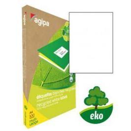 Etikety univerzálne recyklované 210x297mm Agipa A4 100 hárkov AG101195