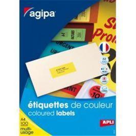 Etikety farebné 70x31mm Agipa A4 100 hárkov fluo červené AG119030