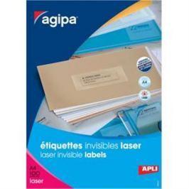 Etikety polyesterové priehľadné 210x297mm Agipa A4 laser 100 hárkov AG130140