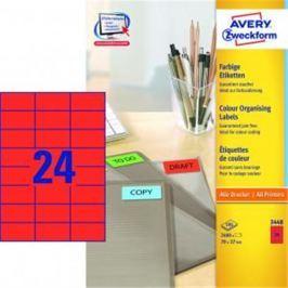 Etikety farebné 70x37mm Avery A4 100 hárkov červené AV003448