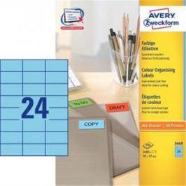 Etikety farebné 70x37mm Avery A4 100 hárkov modré AV003449