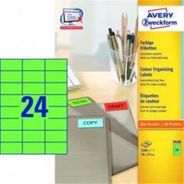 Etikety farebné 70x37mm Avery A4 100 hárkov zelené AV003450
