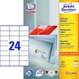 Etikety univerzálne 70x36mm Avery A4 100 hárkov AV003475