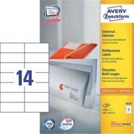 Etikety univerzálne 105x42,3mm Avery A4 100 hárkov AV003653