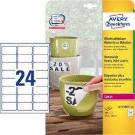 Etikety polyesterové 63,5x33,9mm Avery A4 biele odnímateľné 20 hárkov AV477321