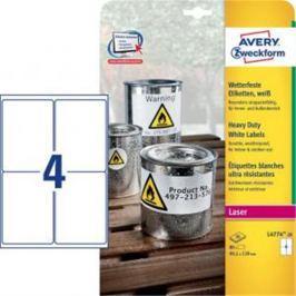Etikety polyesterové 99,1x139mm Avery A4 biele 20 hárkov AV477420