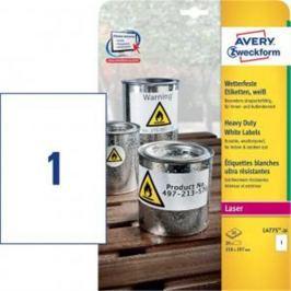 Etikety polyesterové 210 x 297mm Avery A4 biele 20 hárkov AV477520