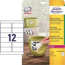 Etikety polyesterové 99,1x42,3mm Avery A4 biele odnímateľné 20 hárkov AV477621