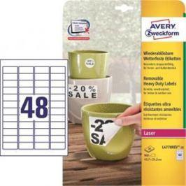 Etikety polyesterové 45,7x21,2mm Avery A4 biele odnímateľné 20 hárkov AV477821