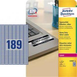 Etikety polyesterové 25,4x10mm Avery A4 strieborné 20 hárkov AV600820