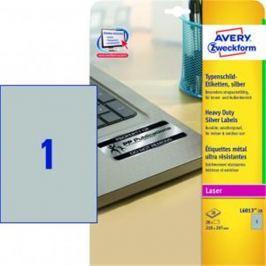 Etikety polyesterové 210x297mm Avery A4 strieborné 20 hárkov AV601320