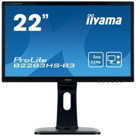 Monitor iiyama B2283HS-B3, 22'', TN, FullHD, 1ms, 250cd/m2, 1000:1, 16:9, VGA, HDMI, DP, repro, výškov.nast., pivot