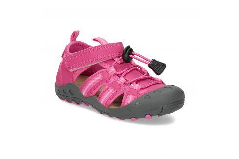 Dievčenské ružové sandále s plnou špičkou