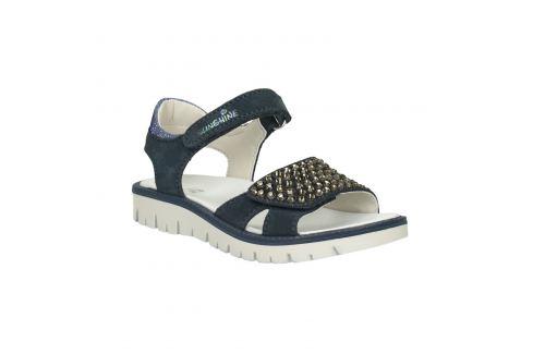 Dievčenské modré kožené sandále s kamienkami