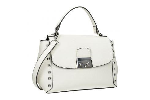 Biela kabelka s rúčkou a cvočkami